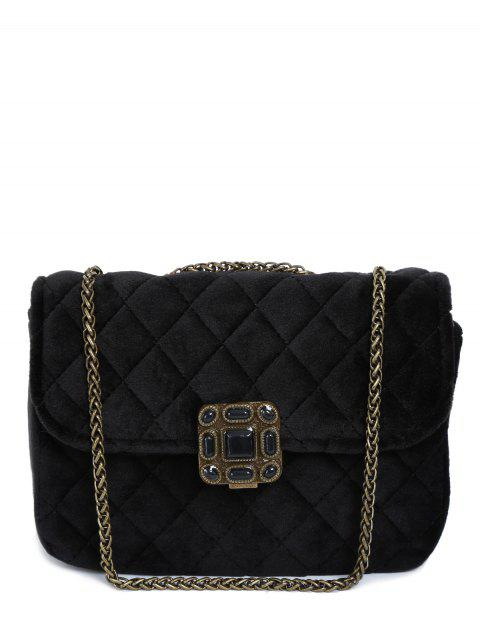 Vintage Chains Velour Quilted Bag - BLACK