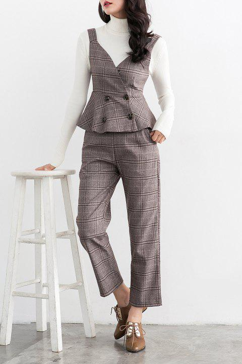 Plaid Waistcoat With Ankle Pants - GRAY XL