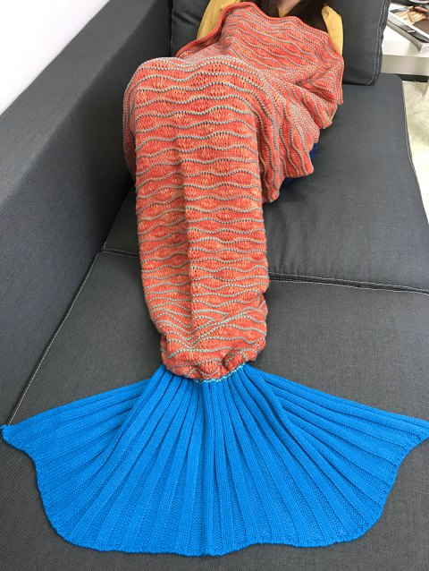 Confortable tricot rayé Mermaid Tail style Blanket - Orange
