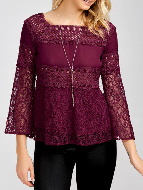 Openwork Square Collar Flare Sleeve Lace Blouse - WINE RED M