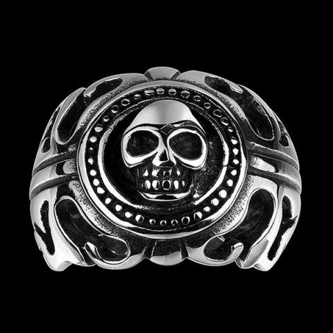 Stainless Steel Skull Biker Ring - SILVER 11