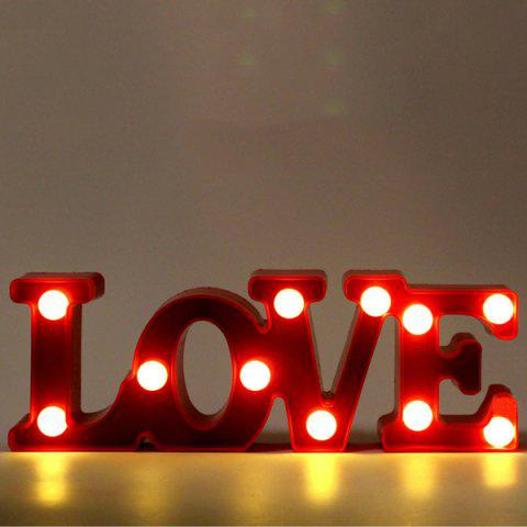Love Letter Shape Led Night Light Table Decoration Red