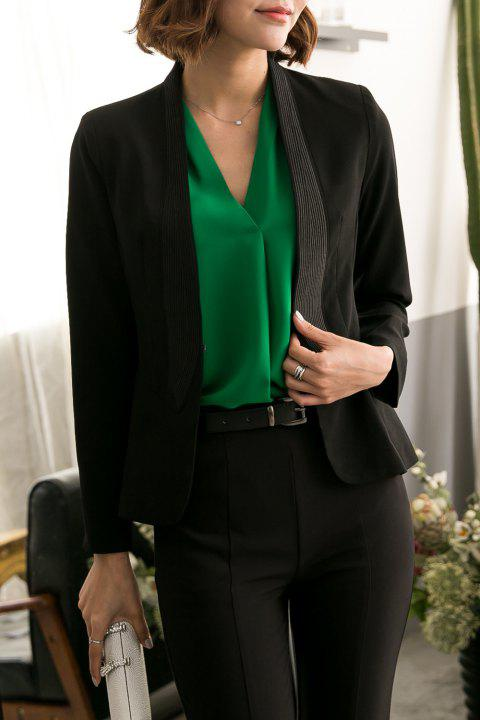 Slim Fit Collarless Blazer - BLACK L