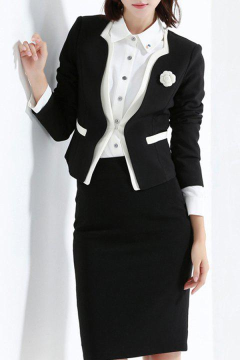 Collarless Slim Fit Business Blazer - BLACK 4XL