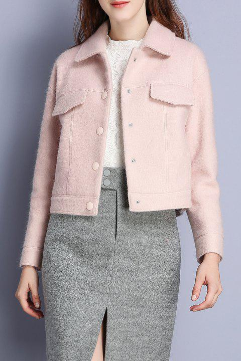 Short Wool Blend Coat - PINK M