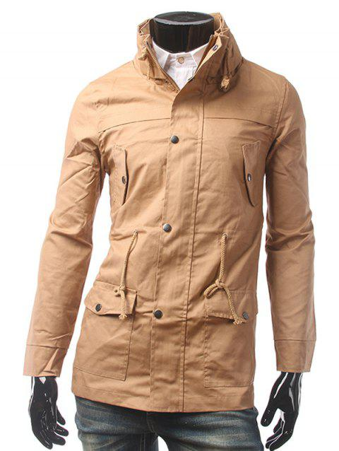 Taille coulissée multi Pocket Zip Up Jacket - Kaki 2XL