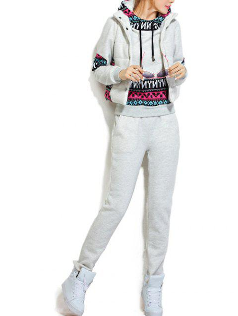 Fleece Pocket Hoodie and Vest With Track Pants Set - WHITE GREY S