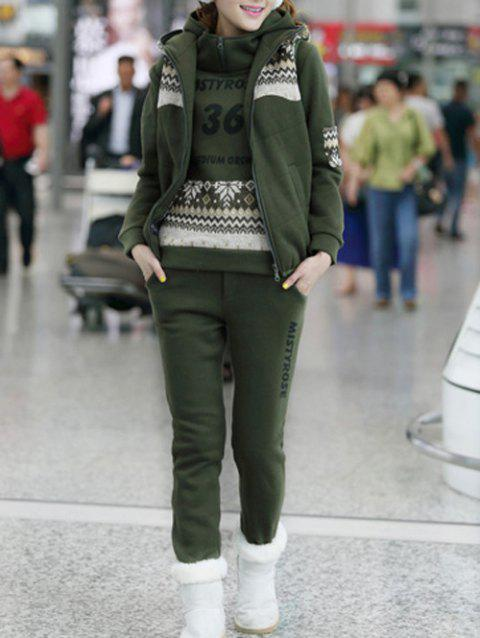 Letter Snow Printed Hoodie and Vest With Track Pants Set - ARMY GREEN 2XL