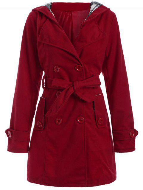 Long Hooded Wool Trench Coat - RED 2XL