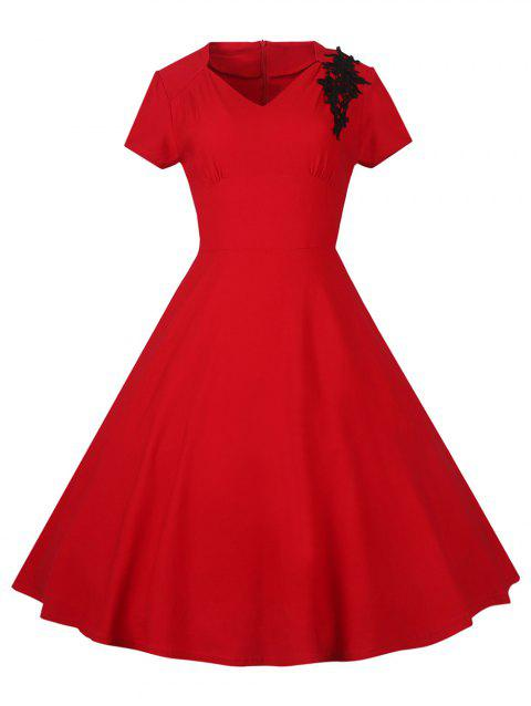 Lace Embroidered Insert 1940S Cocktail Swing Dress - RED M