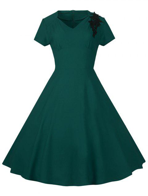 Lace Embroidered Insert 1940S Cocktail Swing Dress - GREEN M