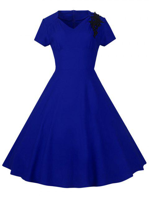 Lace Embroidered Insert 1940S Cocktail Swing Dress - ROYAL BLUE S