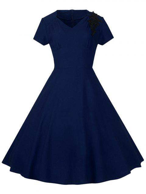 Lace Embroidered Insert 1940S Cocktail Swing Dress - PURPLISH BLUE S