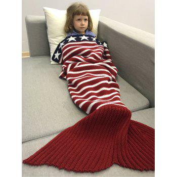 Thicken American Flag Pattern Sofa Knitted Mermaid Blanket