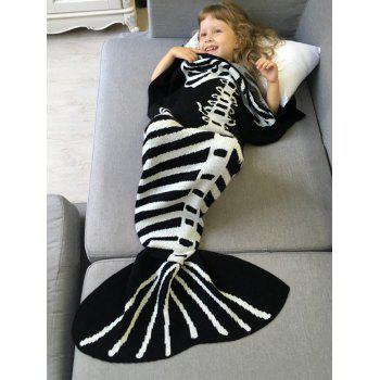 Comfortable Kintted Fishbone Halloween Mermaid Tail Blanket For Kids