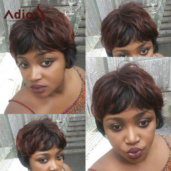 Adiors Hair Short Fluffy Full Bang Mixed Color Straight Synthetic Wig