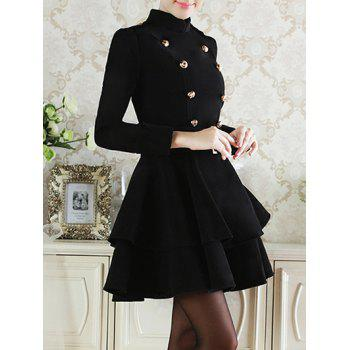 Buy Double Breasted Sashes Wool Full Layered Dress BLACK