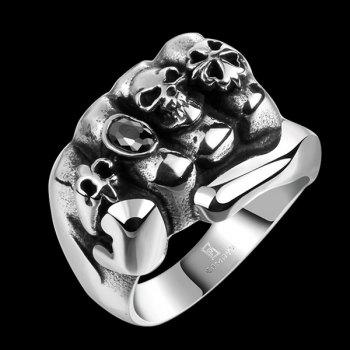 Fake Gem Clover Fist Shape Skull Ring - SILVER 10