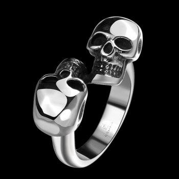Alloy Double Skull Cuff Ring - SILVER SILVER