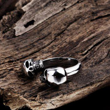 Alloy Double Skull Cuff Ring - SILVER 11