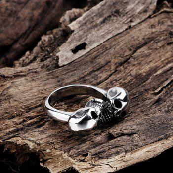 Alloy Double Skull Cuff Ring - SILVER 10