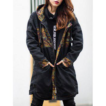 Zip Up Camouflage Hooded Denim Coat