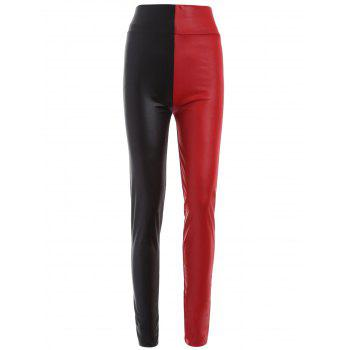 Skinny Color Block Faux Leather Pants WHITE