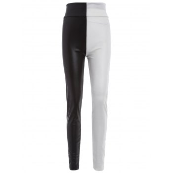 Buy Skinny Color Block Faux Leather Pants RED