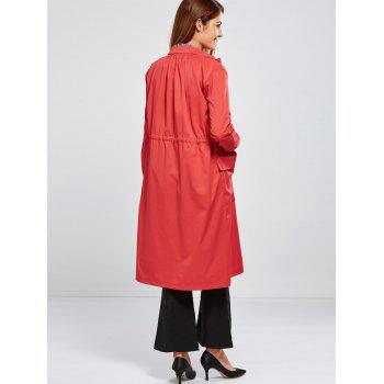 Double Pocket Drawstring Long Coat - RED RED