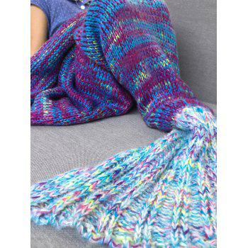 Comfortable Knitted Sofa Kids Mermaid Tail Blanket - BLUE S