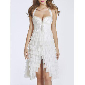 Ruffled Lace-Up Halter Corset Dress