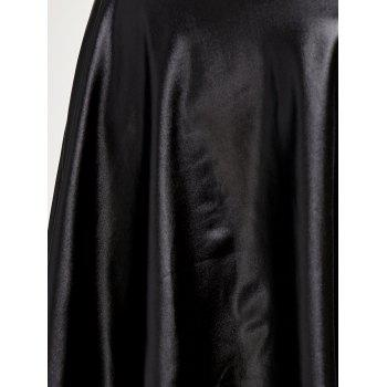 High Low Faux Leather Skirt - BLACK BLACK
