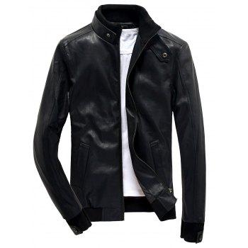 Rib Splicing Design Stand Collar Zip Up PU Leather Jacket