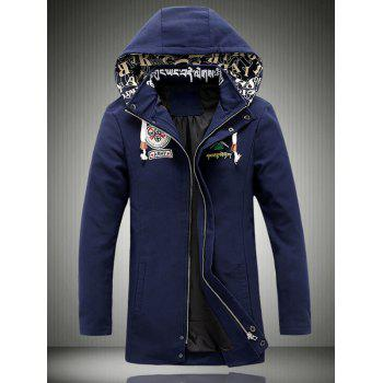 Embroidered Hooded Lengthen Thicken Jacket