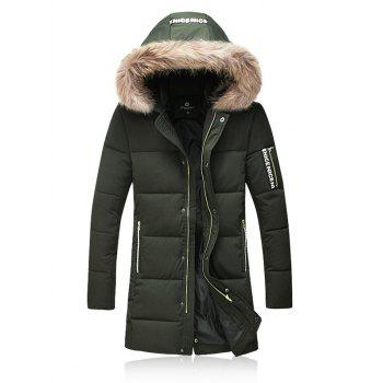 Thicken Furry Hood Zip Up Down Coat