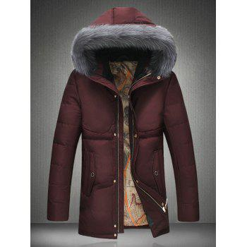 Thicken Slimming Furry Hood Zip Up Down Coat