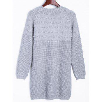 Raglan Longline Sweater with Wavy Knit - GRAY GRAY