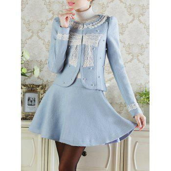 Lace Insert Short Wool Jacket With Flare Skirt - AZURE M
