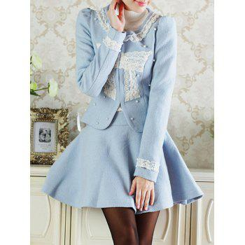 Lace Insert Short Wool Jacket With Flare Skirt