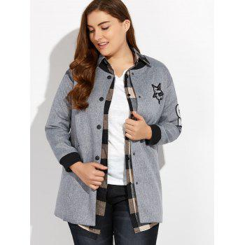Plus Size Number Patched Bomber Jacket - GRAY GRAY