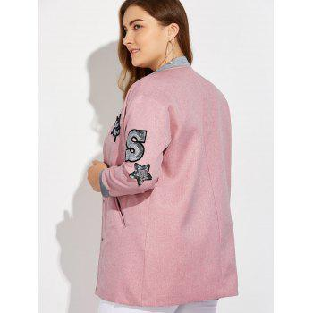 Plus Size Number Patched Bomber Jacket - PINK PINK