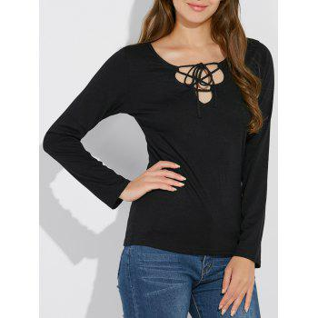 Long Sleeve Lace Up T Shirt