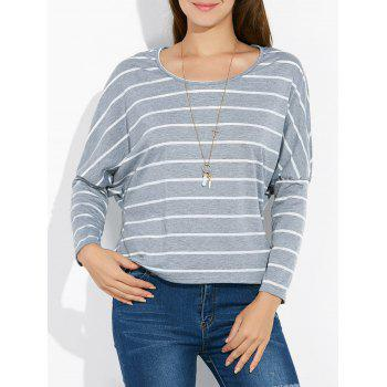 Batwing Sleeve Striped Tee - GRAY GRAY