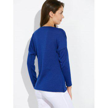Dolman Sleeve Ruched Tulip Tee - BLUE BLUE