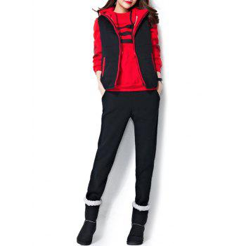 Varsity Striped Printed Three Piece Gym Suit - RED RED