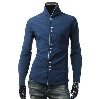 One Button Cuff Stand Collar Shirt
