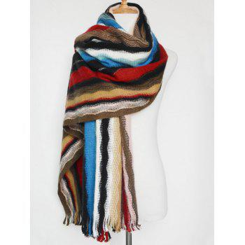 Wave Stripe Tassel Knit Shawl Scarf