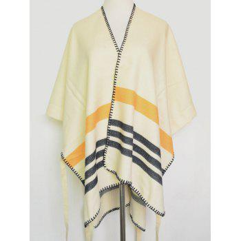 Open Front Striped Stitch Hemming Pashmina