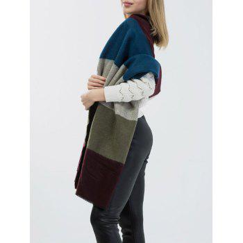 Wide Striped Knitted Scarf - COLORMIX