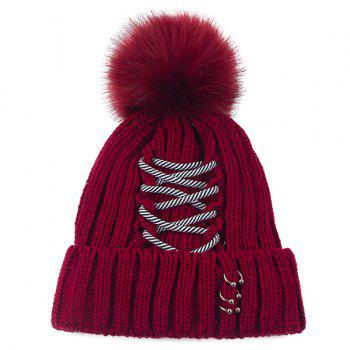 Striped Criss Cross Bandage Pom Hat